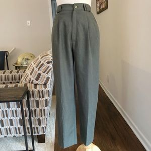 Vintage Olive Pleated High Rise Trouser Pant